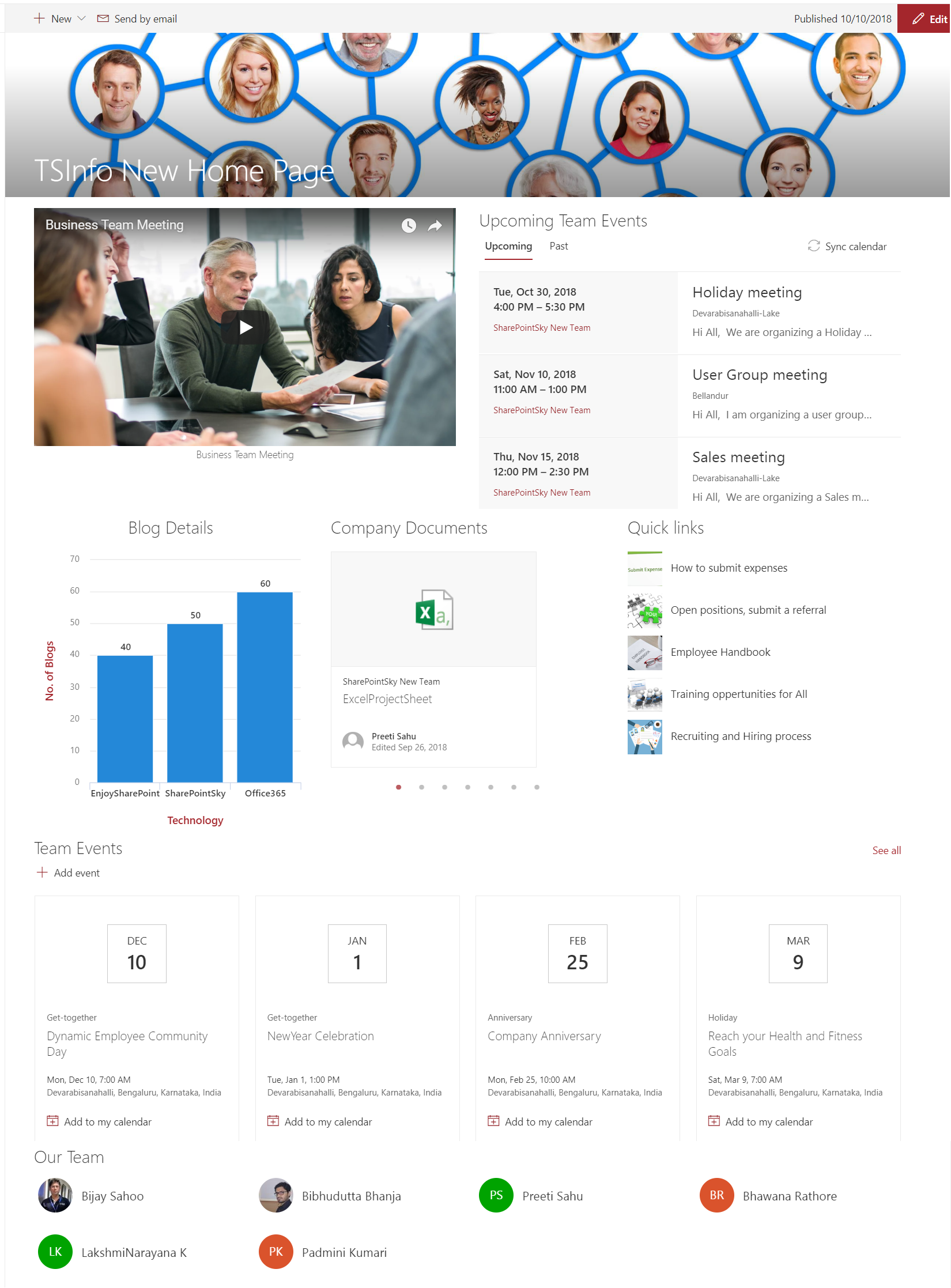sharepoint online modern team site template