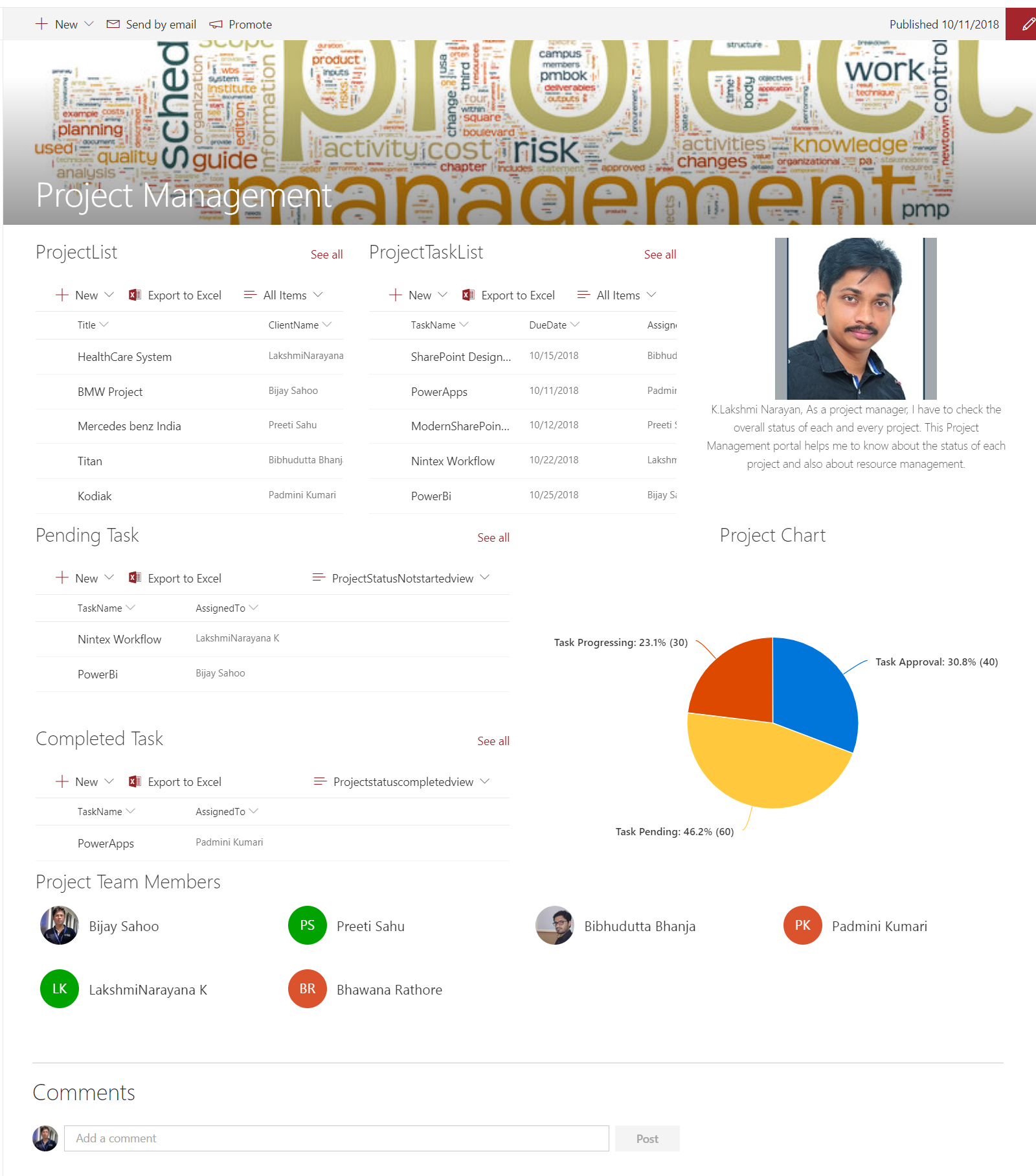 sharepoint online modern team site template example